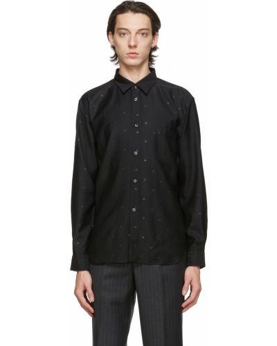 Czarna koszula z długimi rękawami z haftem Comme Des Garcons Homme Deux