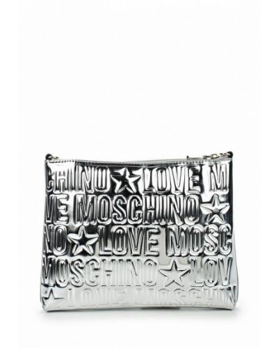 Сумка через плечо серебряного цвета Love Moschino
