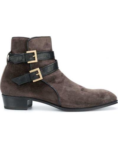 Кожаные серые ботинки на каблуке на каблуке с пряжкой Lidfort