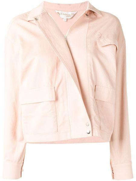 Z rękawami różowy bawełna długa kurtka z kołnierzem Christian Dior