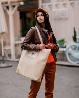 Beżowa torebka materiałowa miejska Merg