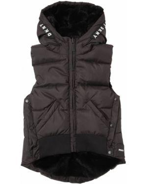 Czarna kurtka puchowa bez rękawów z nylonu Dkny