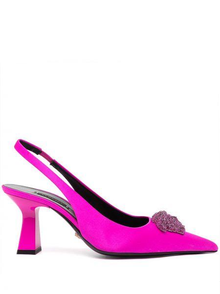 Кожаные лодочки - фиолетовые Versace