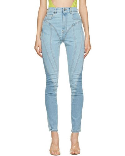 Кожаные черные джинсы стрейч с заплатками Mugler