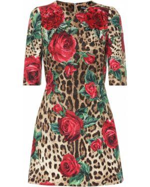 Платье мини леопардовое шелковое Dolce & Gabbana