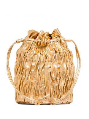 Золотистая кожаная косметичка золотая Ganni