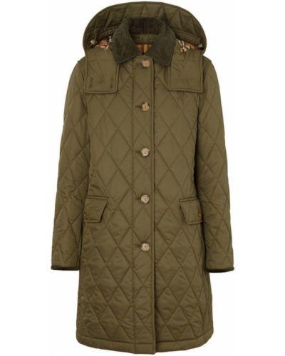Пальто с капюшоном стеганое зеленое Burberry