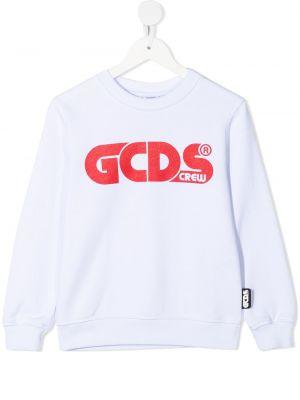 Белый с рукавами хлопковый свитшот Gcds Kids