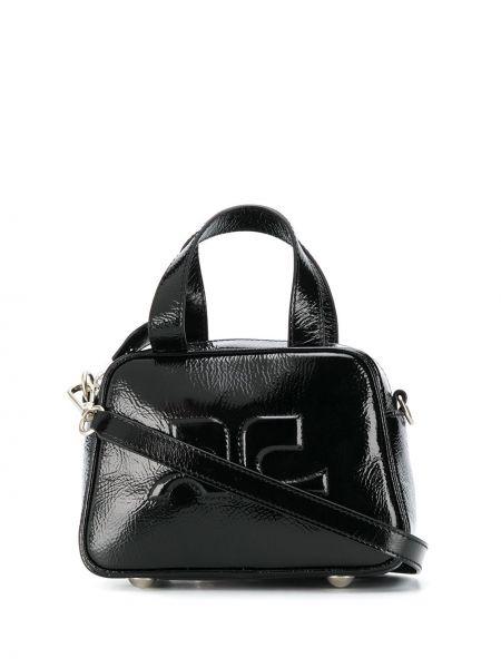 Czarna torebka mini skórzana Courreges
