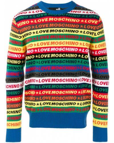 Свитер в полоску облегающий с узором Love Moschino