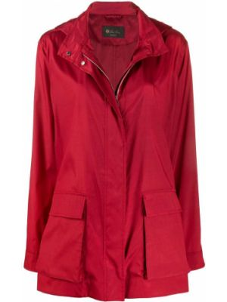 Красное длинное пальто с капюшоном с воротником Loro Piana