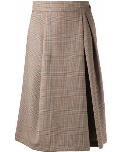 Шерстяная коричневая юбка миди со складками Barena