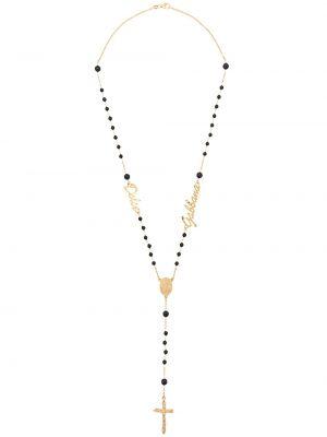 Naszyjnik z koralikami czarny Dolce And Gabbana