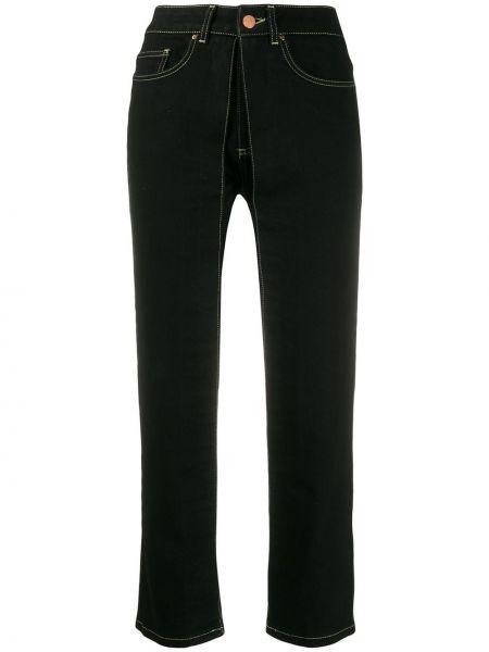 Czarne jeansy skorzane z paskiem Aalto