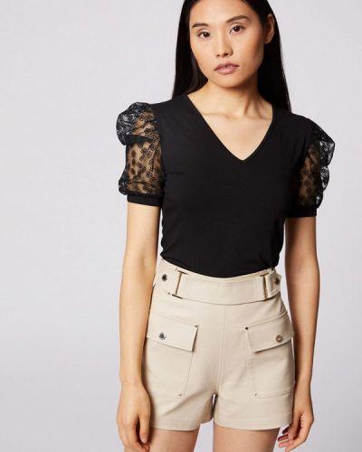 Черная блузка с короткими рукавами Morgan