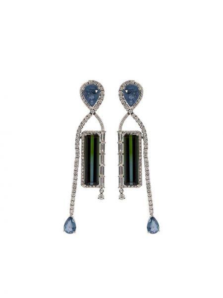 С ромбами серьги-гвоздики золотые с бриллиантом Graziela