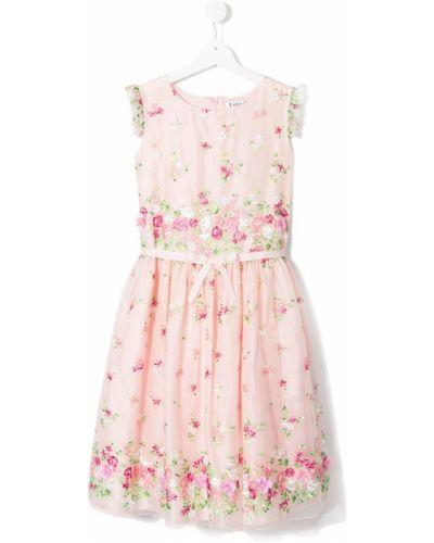Розовое платье с рукавами из фатина Lesy