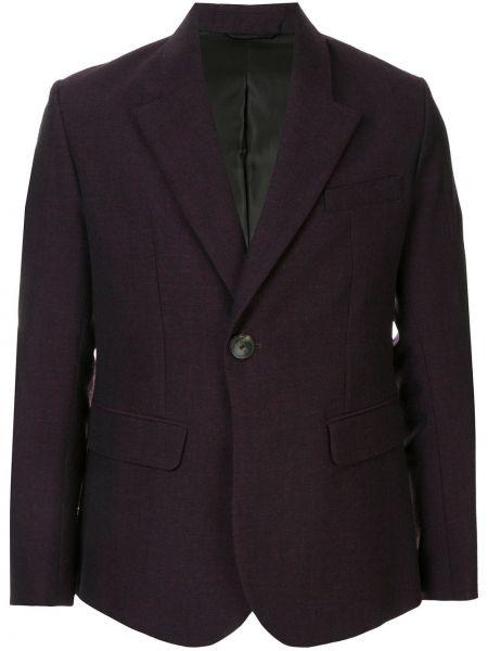Деловой фиолетовый пиджак на пуговицах с лацканами Namacheko