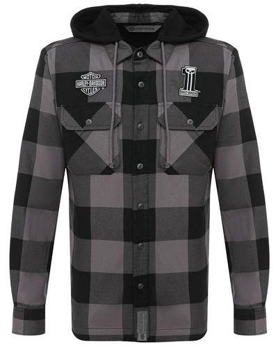 Утепленная серая фланелевая рубашка Harley Davidson