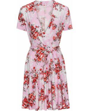 Платье с поясом розовое с запахом Bonprix