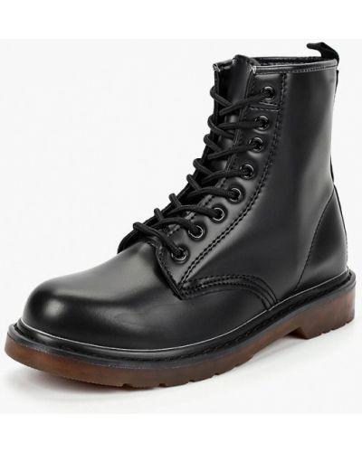 Кожаные ботинки осенние черные Piazza Italia