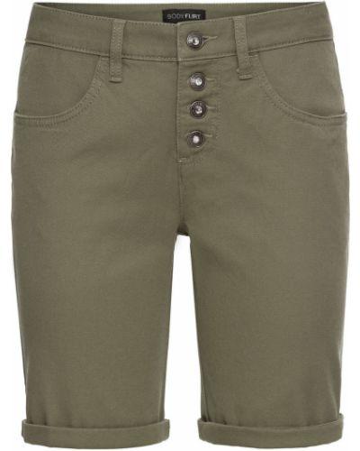 Зеленые классические брюки с карманами на пуговицах Bonprix