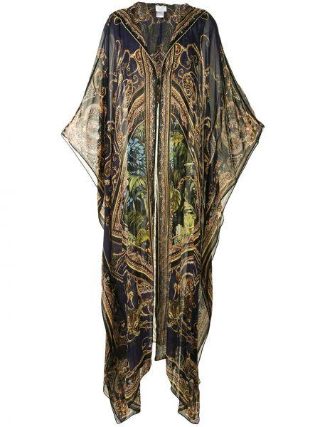 Czarny szlafrok z jedwabiu z długimi rękawami Camilla