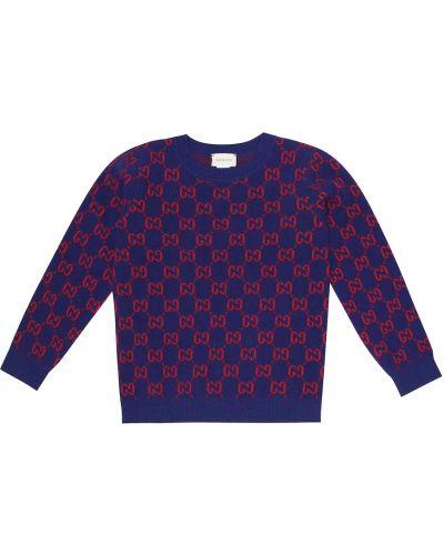 Малиновый шерстяной свитер Gucci Kids