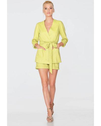 Льняной желтый пиджак с поясом Nenka