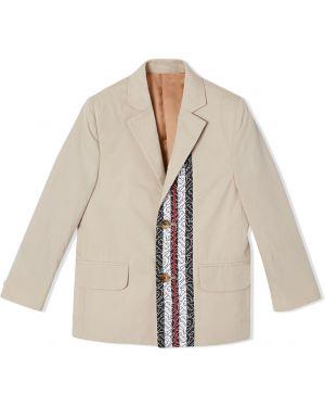 Хлопковый классический бежевый пиджак с карманами Burberry Kids