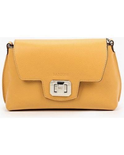 Желтая сумка через плечо из натуральной кожи Basconi