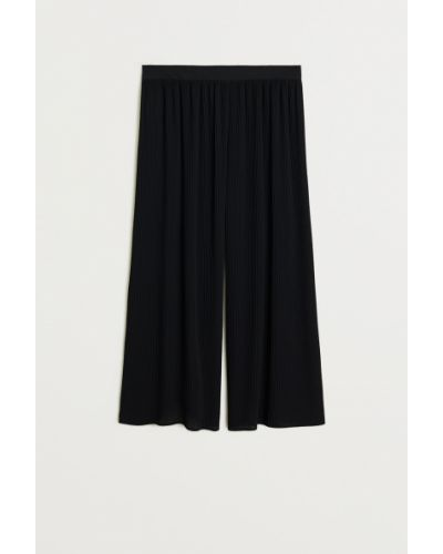 Свободные брюки с поясом черные Mango