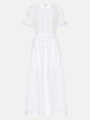 Хлопковое белое классическое летнее платье со вставками Loveshackfancy