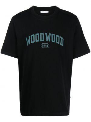 Футболка с принтом - черная Wood Wood
