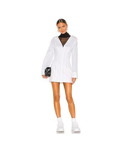 Хлопковое белое платье мини на пуговицах с подкладкой Danielle Guizio