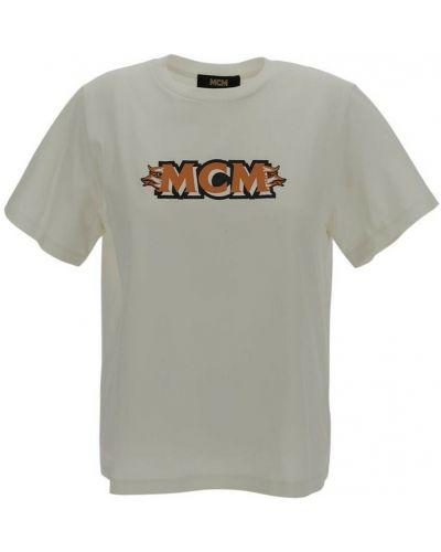 Biała t-shirt Mcm
