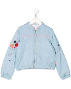 Niebieska długa kurtka z haftem bawełniana Billieblush