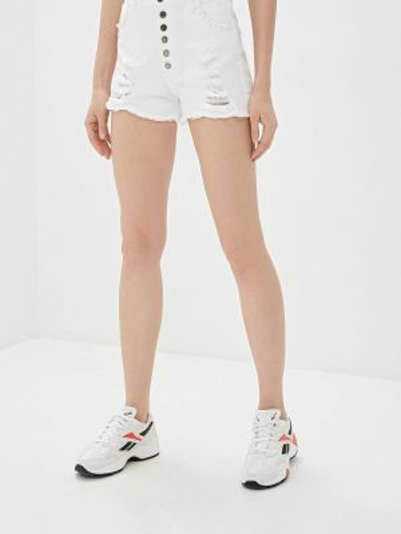 Белые джинсовые шорты со стразами J.b4