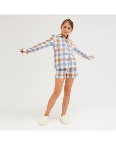 Домашняя синяя рубашка Minaku