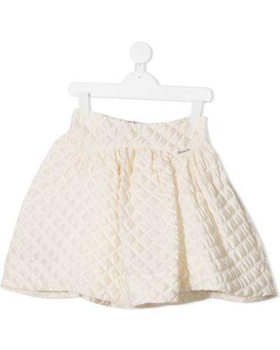 Бежевая шелковая с завышенной талией юбка Simonetta