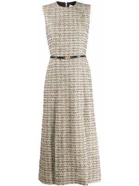 Платье миди с заниженной талией букле Victoria Beckham