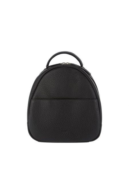 Czarny plecak skórzany w paski Treats