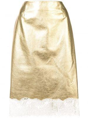 Желтая ажурная юбка миди в рубчик с декоративной отделкой Calvin Klein 205w39nyc