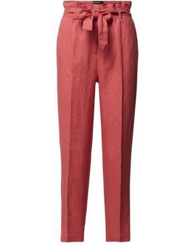 Różowe spodnie materiałowe z wiązaniami Cambio