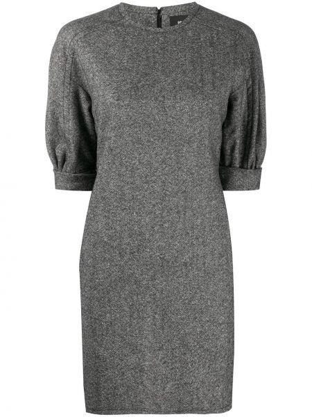 Серое прямое платье мини с вырезом с рукавом реглан Dsquared2