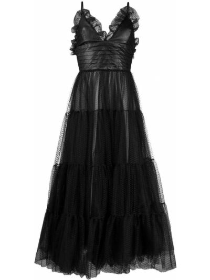 Расклешенное черное платье миди из фатина Brognano