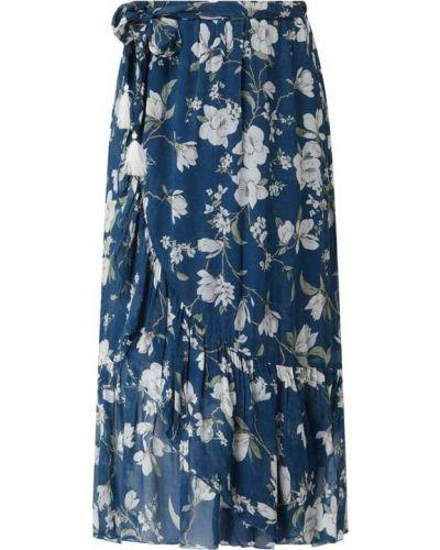 Niebieska spódnica midi rozkloszowana z falbanami Nile