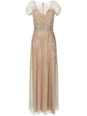 Brązowa sukienka z dekoltem w serek Jenny Packham
