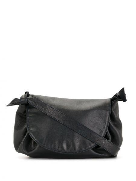 Кожаная черная сумка на плечо на молнии с карманами Bottega Veneta Pre-owned