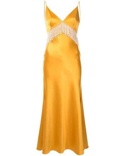 Желтое платье с бахромой на молнии Dalood